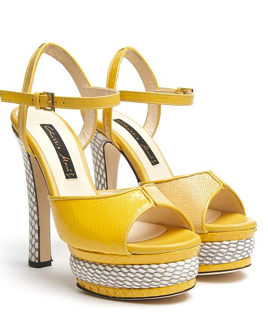 """""""I'm newly obsessed with shoe designer Chrissie Morris . . . she makes bold, sexy shoes that are a big investment, but they're the kind of investment that makes you smile for years and years."""" — Noria Morales, style director  Chrissie Morris Farrah Platform Sandal ($1,013)"""