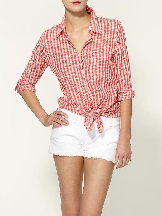 """""""One-part picnic chic, one-part country prep: I love that gingham is back with a vengeance. This tie-front version is laid-back and will totally fit in with my weekend wardrobe."""" — Marisa Tom, associate editor  Sanctuary Neat Gingham Shirt ($87)"""