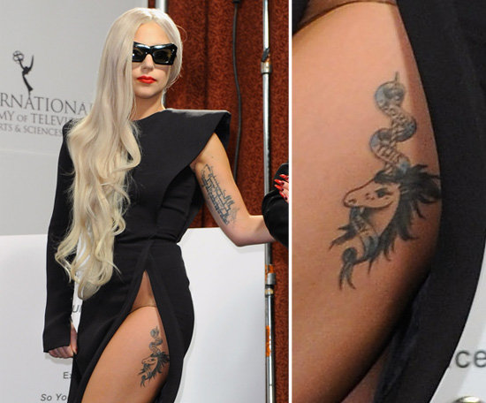Shortly after her VMA meat dress appearance in September 2010, Lady Gaga debuted a unicorn on her upper left thigh inscribed with the title of her album Born This Way.