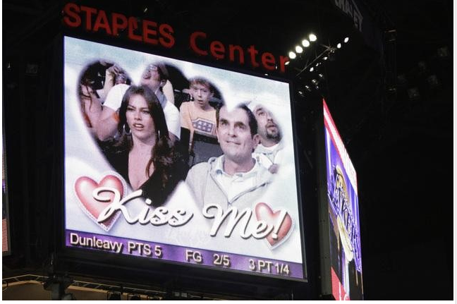 Sofia Vergara and Ty Burrell were caught on the kiss cam together at a Lakers game. It was later revealed that it was for a scene for Modern Family.