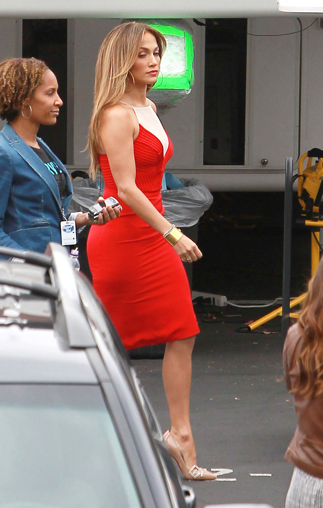 Jennifer Lopez paired her red dress with a nude color shoe.
