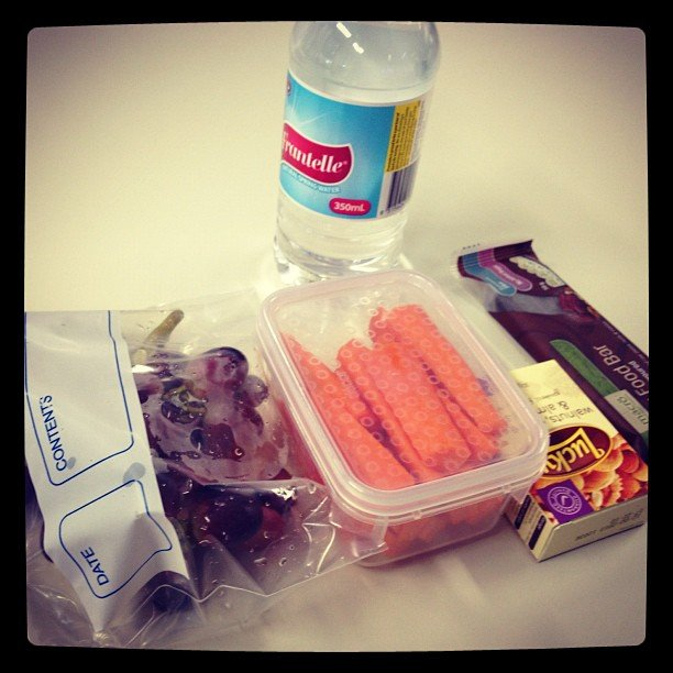 Marisa packed snacks to get through day one.