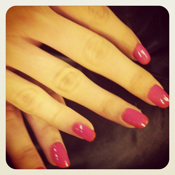 We are Handsome CND nails in Taffy Pink with Electric Orange tips.