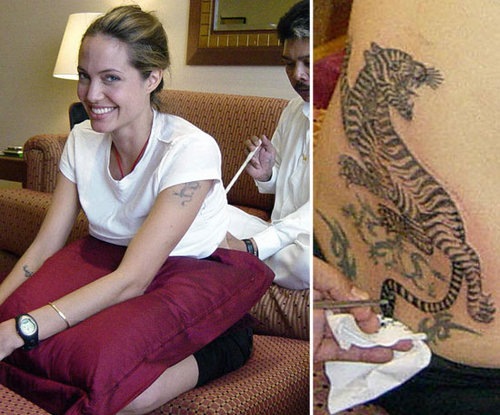 Angelina Jolie sat for Thai tattoo master, Sompong Kanphai, in Bangkok in 2008 to get her tiger ink.