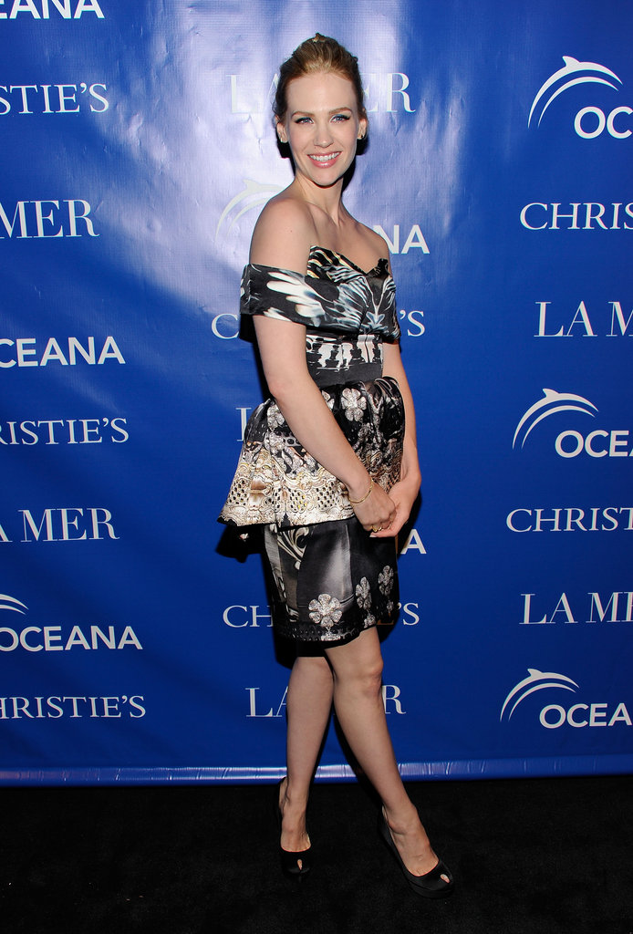 January Jones posed in a Mary Katrantzou dress to a screening of La Revolution Bleue in NYC.