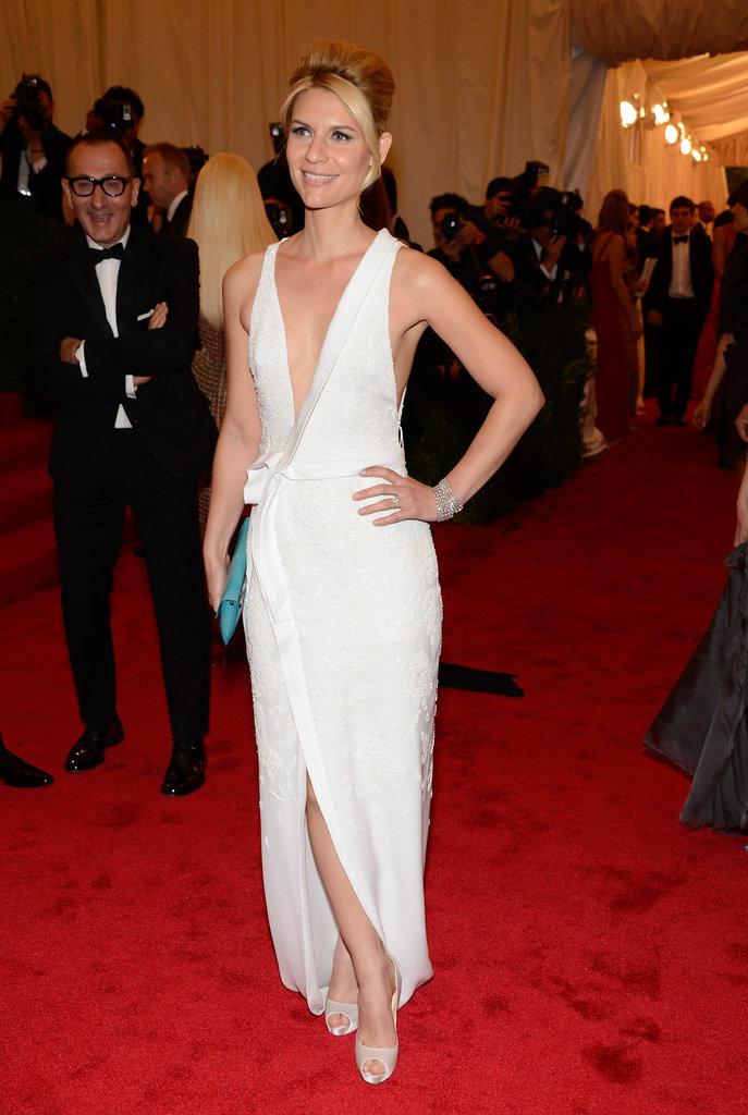 Claire Danes stepped onto the red carpet at the Met Gala in NYC wearing an embroidered J. Mendel gown.