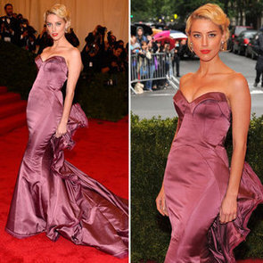 Pictures of Amber Heard in Fitted Zac Posen Gown on the Red Carpet at the 2012 Met Costume Institue Gala