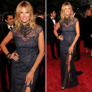 Pictures of Heidi Klum in Sheer Escada Dress on the Red Carpet at the 2012 Met Costume Institue Gala