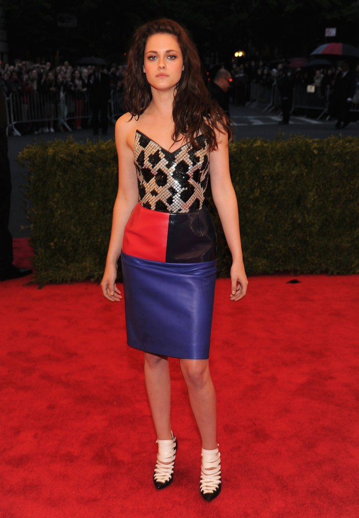 Kristen Stewart arrived at the Met Gala wearing Balenciaga.