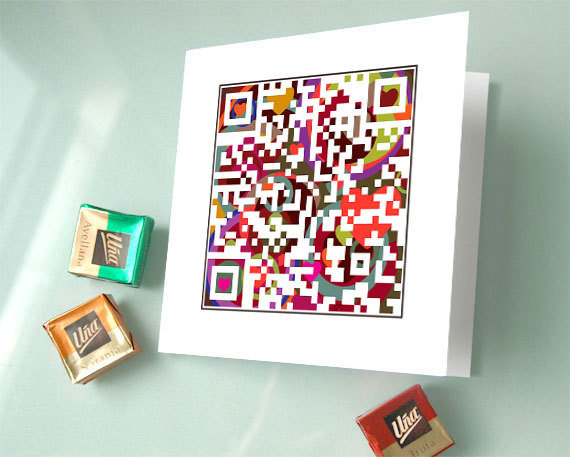 The QR code card ($8 each) is a geek's dream: scan the code and a personalized message pops up on your phone. It works as a fun thank-you note, too.