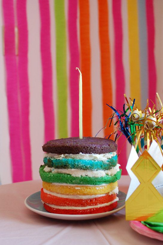 Per the Birthday Girl's Request . . . a Rainbow Cake