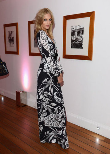 Anja Rubik showed off a printed gown for Gucci and Vanity Fair's festivities.