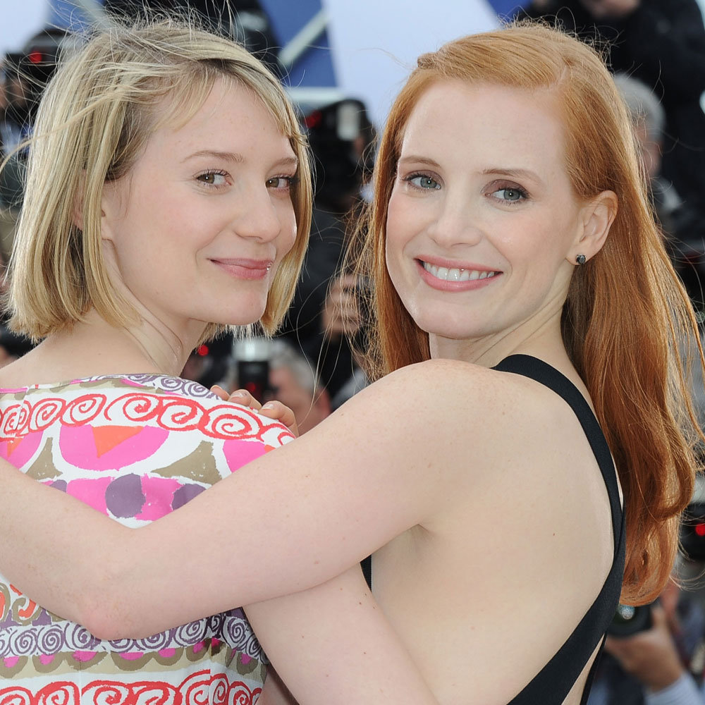 Photo of Mia Wasikowska & her friend, actress  Jessica Chastain