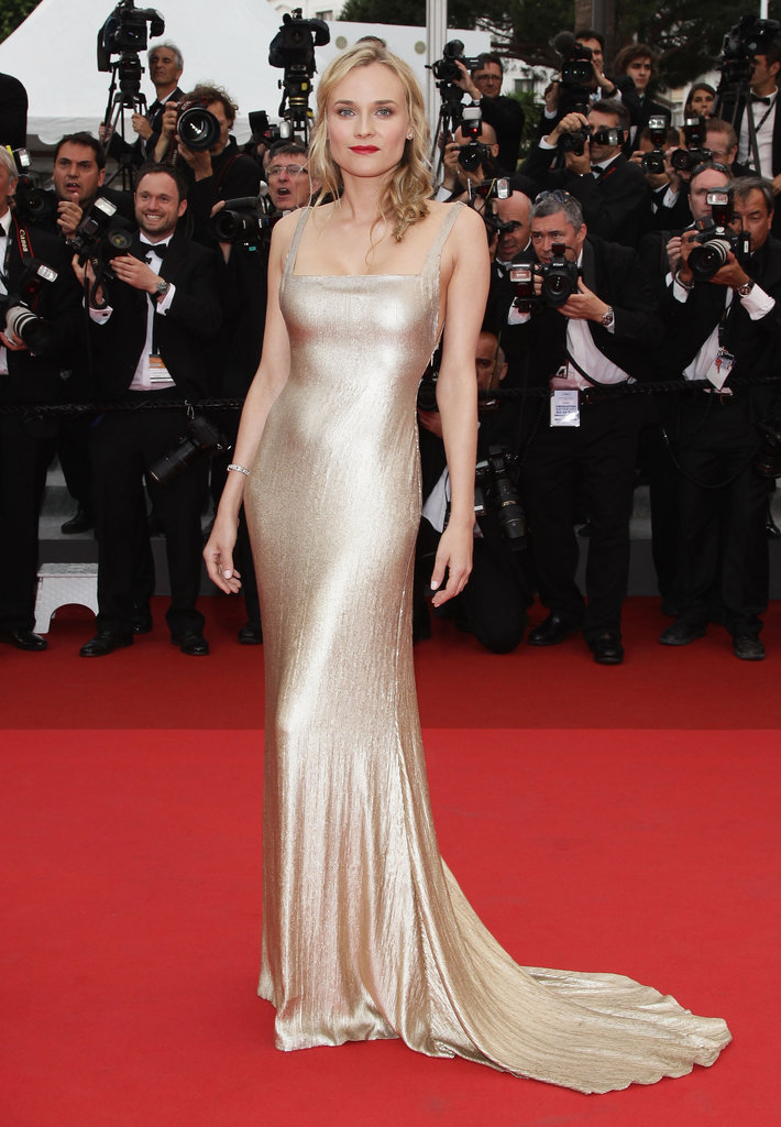 Not many can pull off a body-conscious liquid gold gown, but Diane proved she was up to the task in a floor-length Calvin Klein iteration at the 2011 Sleeping Beauty premiere.