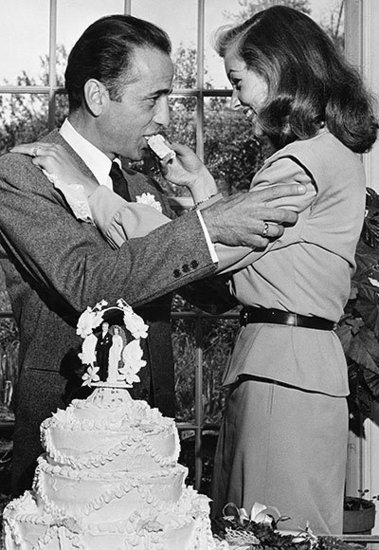 Lauren Bacall and Humphrey Bogart Dig in