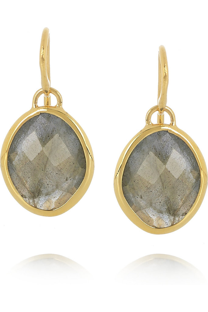 A pair of elegant and unique earrings like this would make a beautiful gift — and they'll go with anything from her work wear to her cocktail looks.  Monica Vinader Nugget 18-Karat Gold-Vermeil Labradorite Earrings ($155)