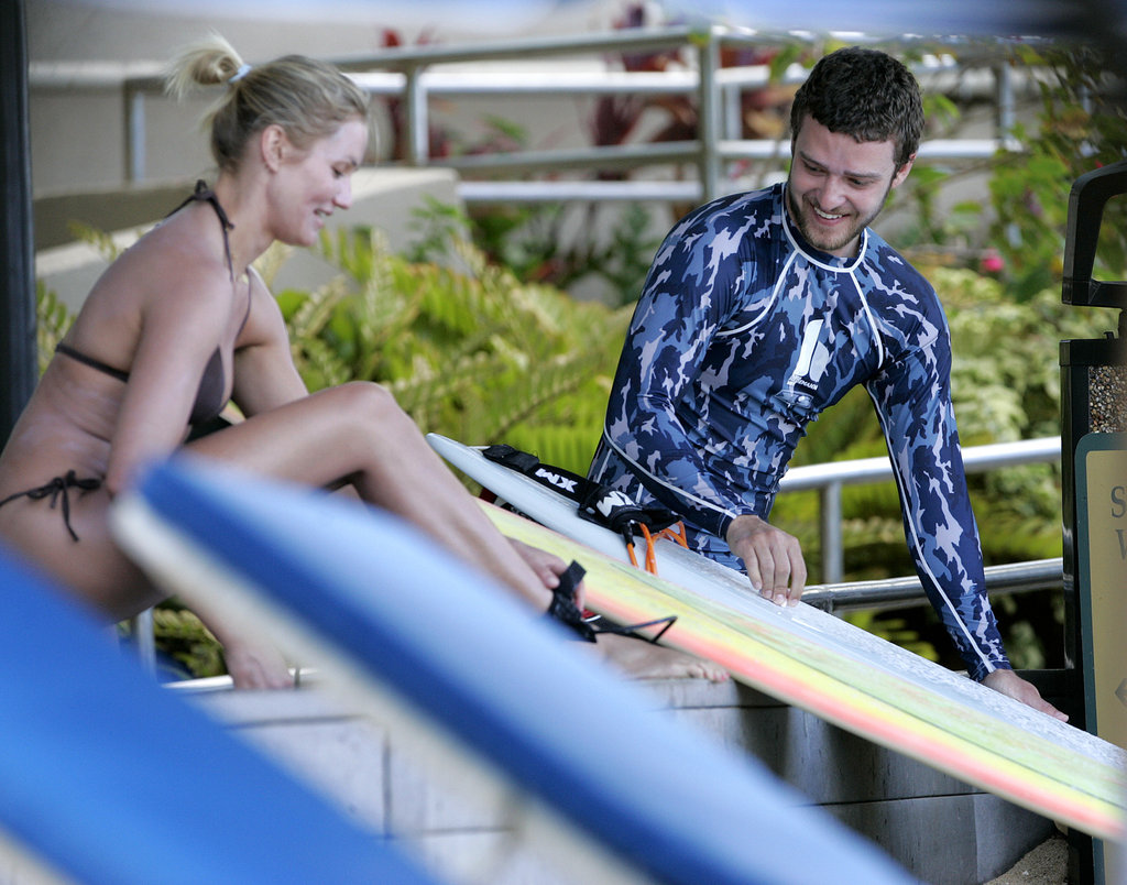 Cameron Diaz and Justin Timberlake waxed their boards together before a day of surfing in Hawaii in July 2005.