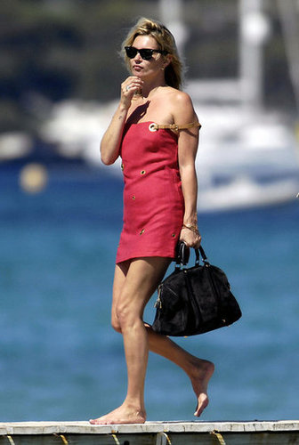 Kate Moss took a walk on the dock during an August 2009 trip to St. Tropez.