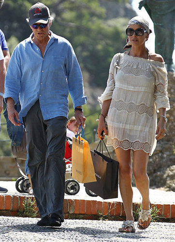 Michael Douglas and Catherine Zeta-Jones went for a shopping spree while on vacation in Portofino, Italy, in July 2011.