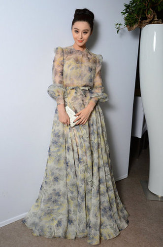 Fan Bingbing wore a sheer floral Valentino gown to L'Oréal's anniversary dinner.