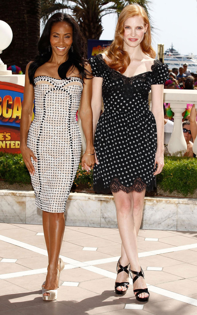 Stylish duo Jada Pinkett Smith and Jessica Chastain both donned polka-dotted dresses (the former in Versace, the latter in Dolce & Gabbana) for the first Madagascar 3 photocall.