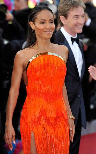 A closer look at Jada's bold orange Atelier Versace ensemble at the Madagascar 3 premiere.