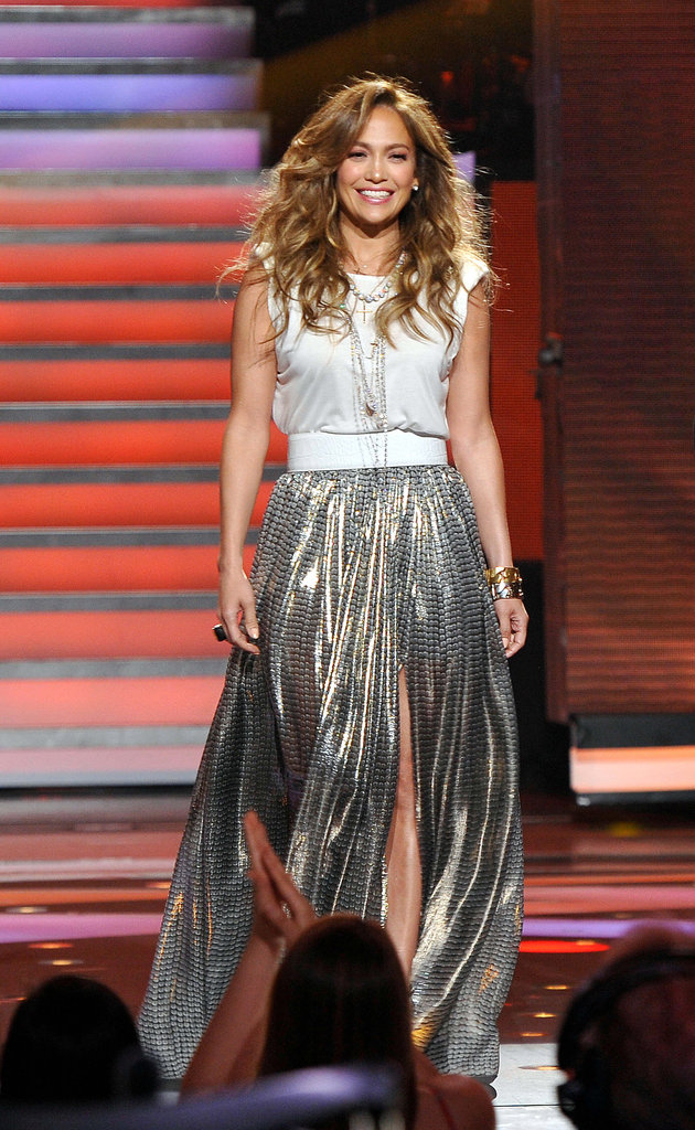 Switching things up a bit, here Jennifer opted for a flashy Lanvin lamé maxi skirt ($4,900) with a Lanvin jersey tee ($520). We loved the contrast between the casual top and the fancy skirt.  6931848