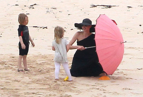 Angelina Jolie spent time on the beach with Knox and Vivienne in the Galapagos Islands in April 2012.