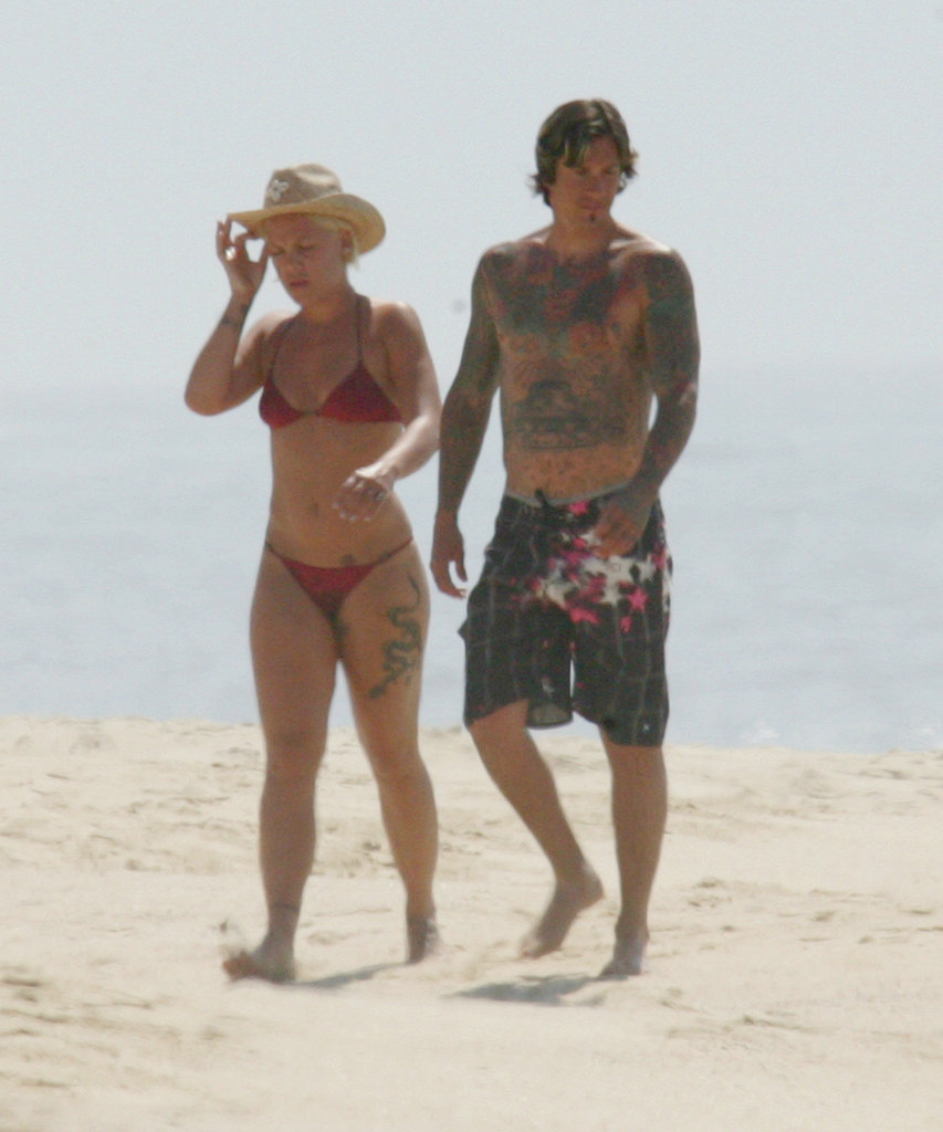 Pink and Carey Hart took a newlywed stroll on the beach in Mexico in July 2005.