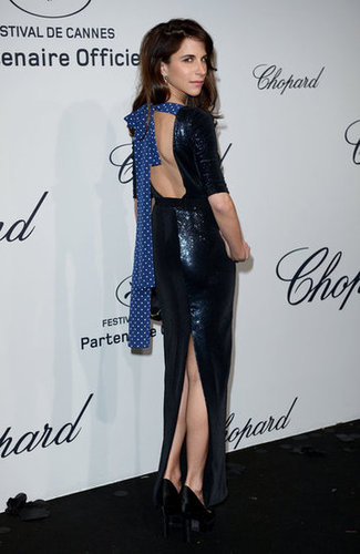 Caroline Sieber revealed a bow-tied back on her sequined gown.