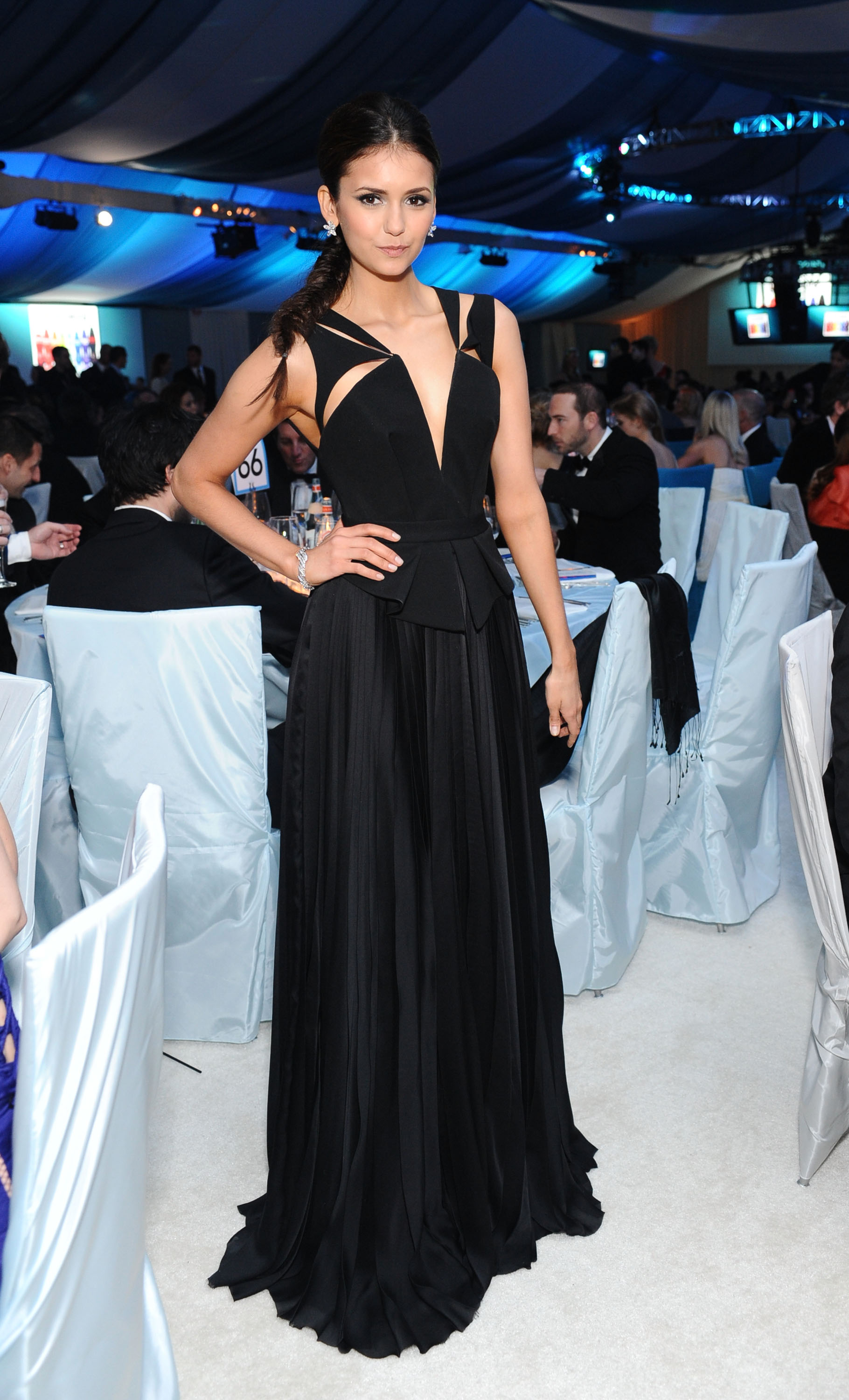 Nina Dobrev looked superchic in a black cutout-infused J. Mendel gown at Elton John's 2012 Oscars party.