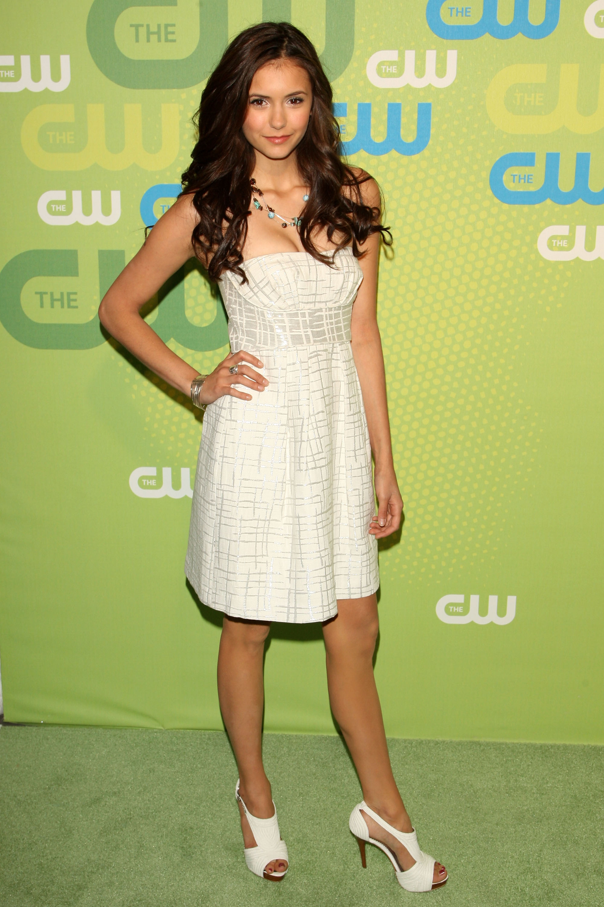 For The CW's 2009 upfronts, the actress wore a strapless LWD with matching white sandals.