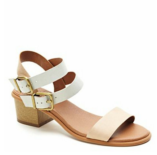 Neutral colorblocking and a low, faux-wooden heel make these classic strappy sandals perfect for the office.  Lucky Brand Leyna Sandals ($89)