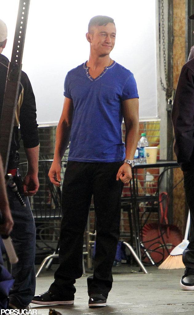 Joseph Gordon-Levitt wore a blue V-neck on set in Hollywood.