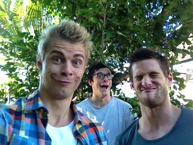 Home and Away boys Luke Mitchell, Charles Cottier and Dan Ewing mucked around on a photo shoot. Source: Twitter user LukeMitchell__