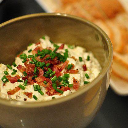 Caramelized Leek, Goat Cheese, and Bacon Dip
