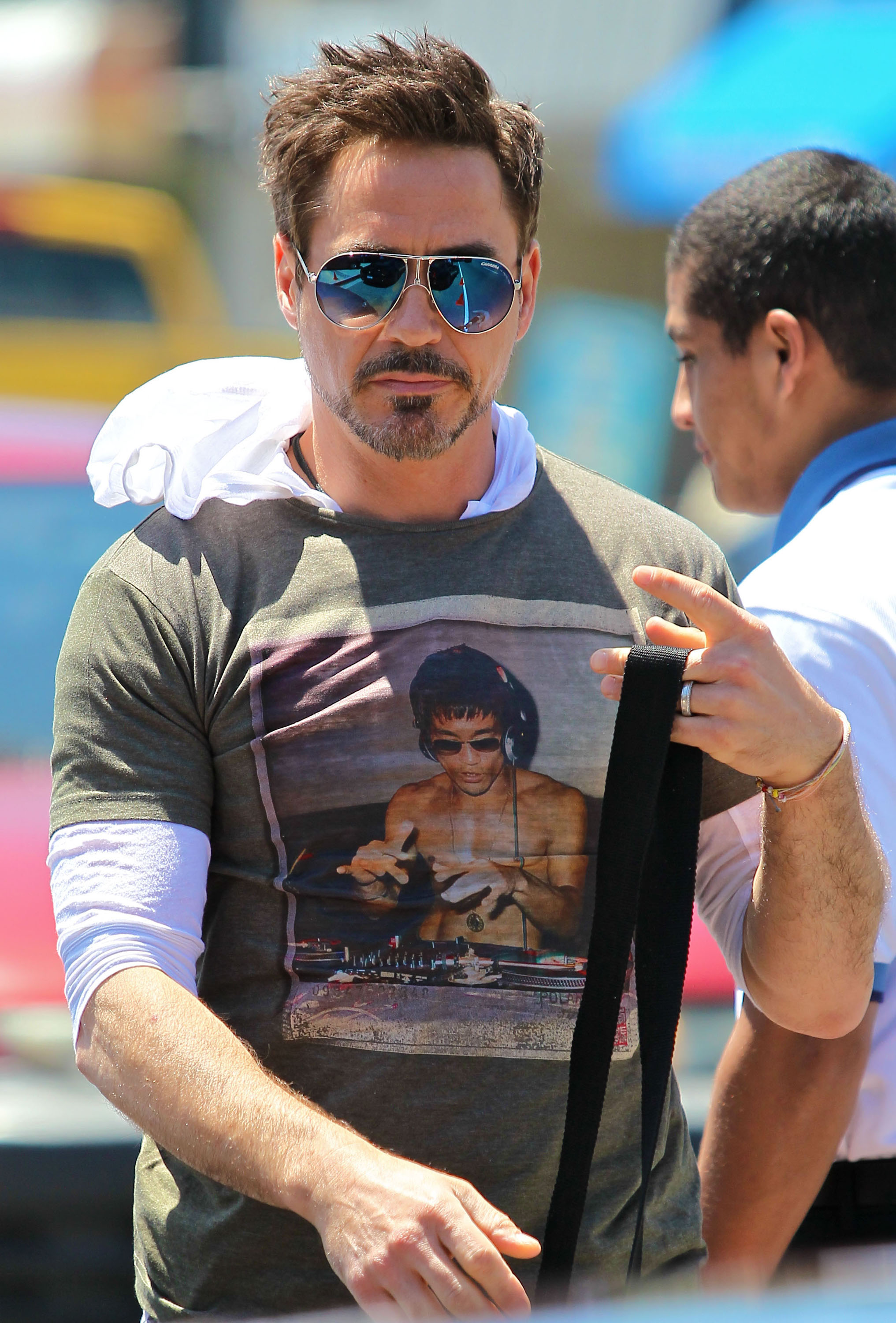 Robert Downey Jr. wore shades to Joel Silver's Memorial Day party in LA.