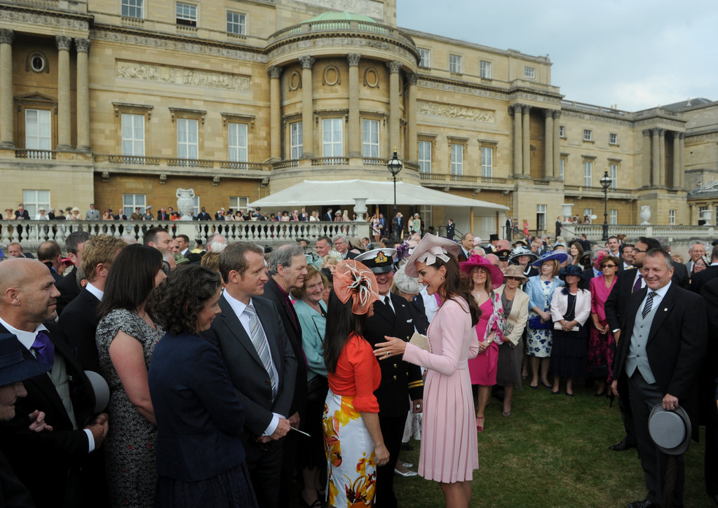 Kate Middleton spoke with guests at Buckingham Palace who attended the event.