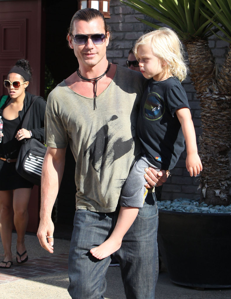 Gavin Rossdale carried son Zuma leaving a Memorial Day party at Joel Silver's house in LA.