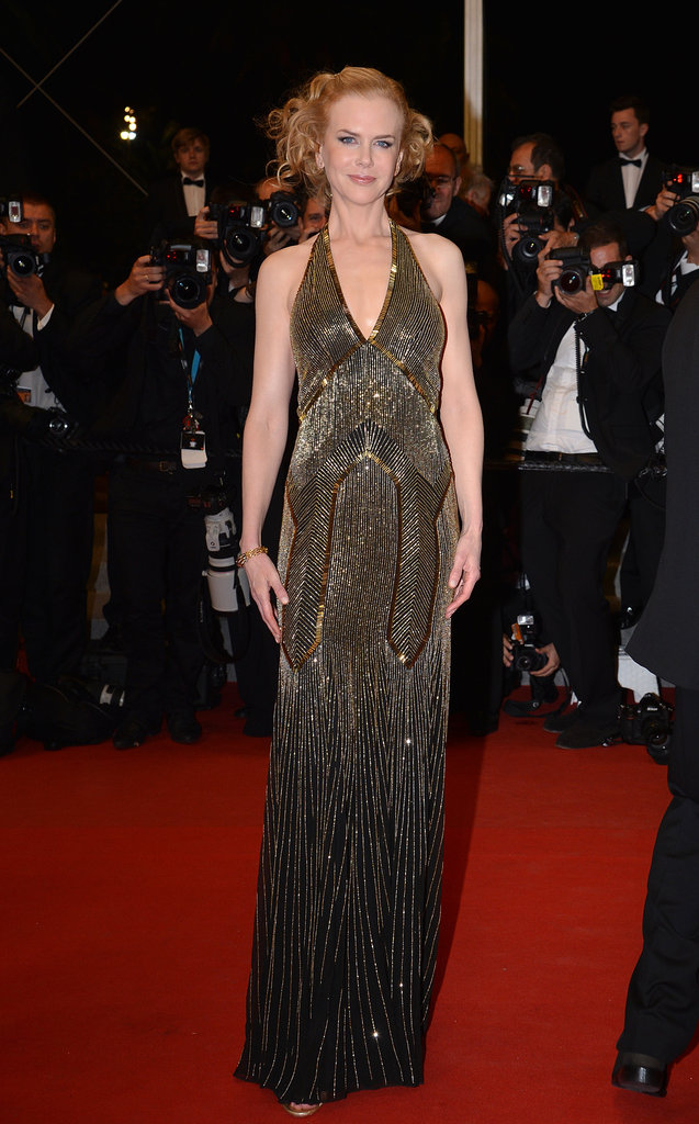 Nicole Kidman shined in a gold-paneled Ralph Lauren number at the Hemingway & Gellhorn premiere.