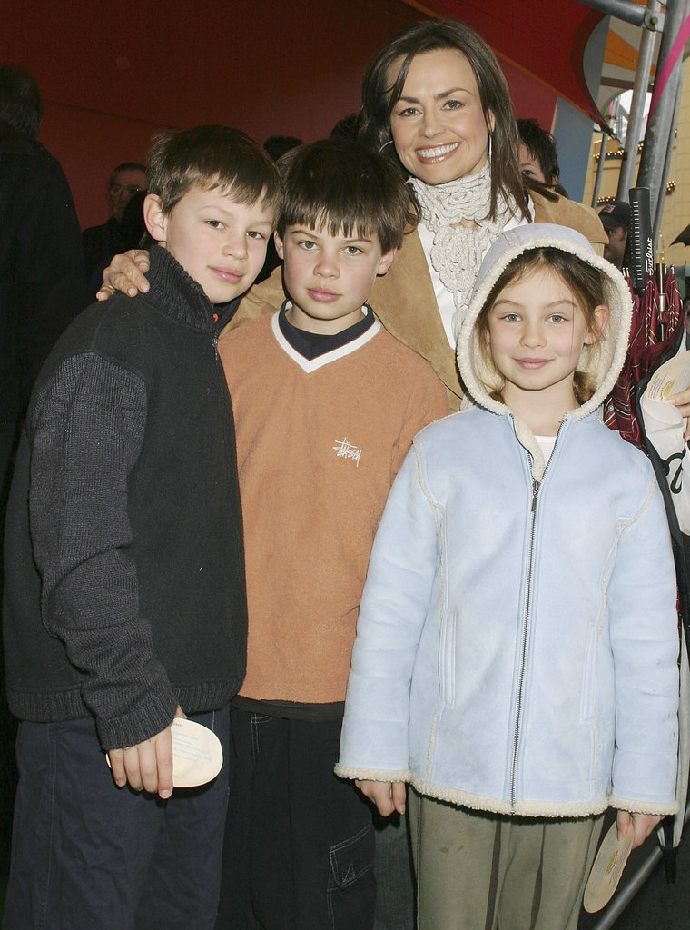 With her children Jake, Louis and Billi at the world premiere of Wallace and Gromit: The Curse of the Were-Rabbit in Sydney in Sept. 2004.