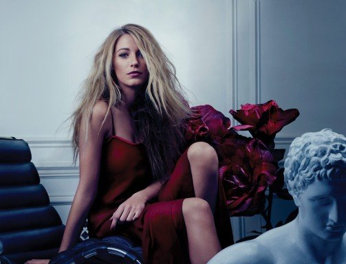 Blake Lively wore a red dress in Bullet magazine.