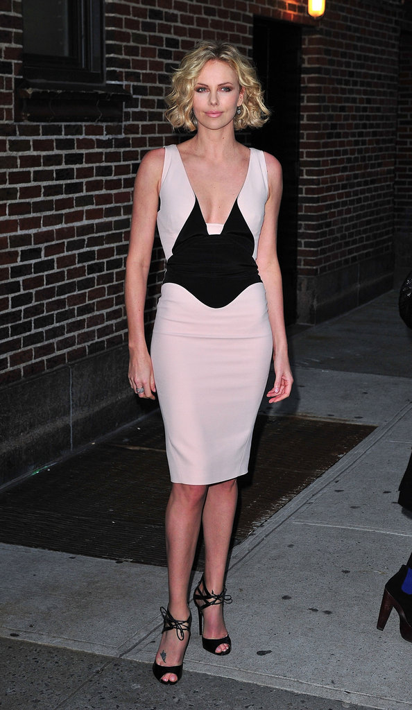 She showed off her svelte figure in a two-toned Antonio Berardi sheath as she headed into Late Show With David Letterman.