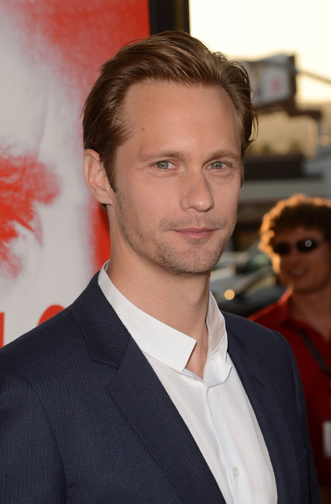 Alexander Skarsgard wore navy and white to the event in Hollywood.