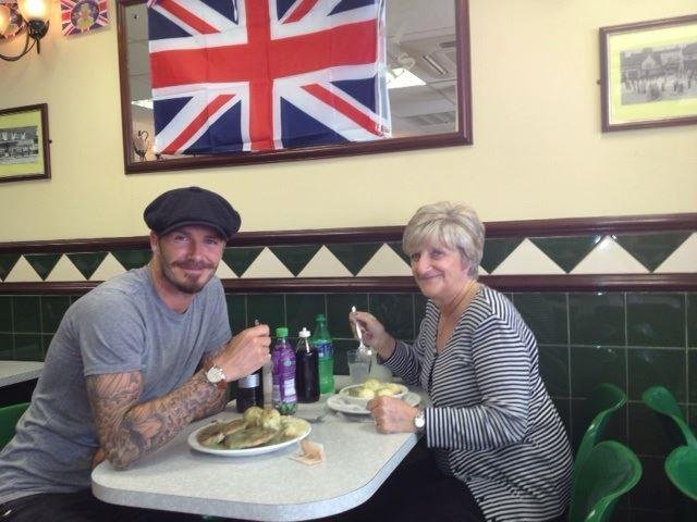 David Beckham had pie and mash with his mother at lunch in London. Source: Facebook user David Beckham