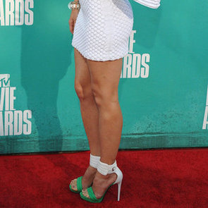 Jessica Biel Green-and-White Sandals at MTV Movie Awards