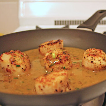 Seared Scallops in White Wine Butter Sauce