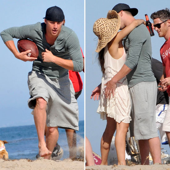 Channing Tatum and Jenna Dewan Kiss During a Playful Beach Day