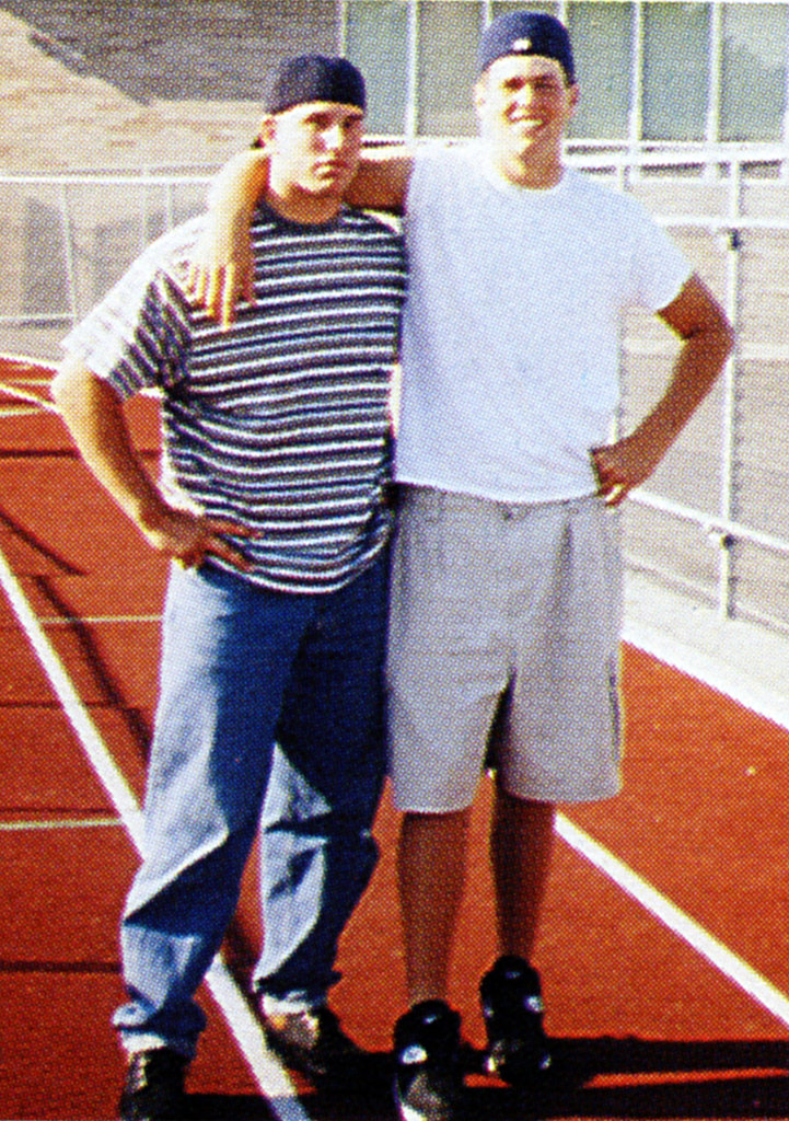 Tom Brady, on the right, stayed fit on the field.