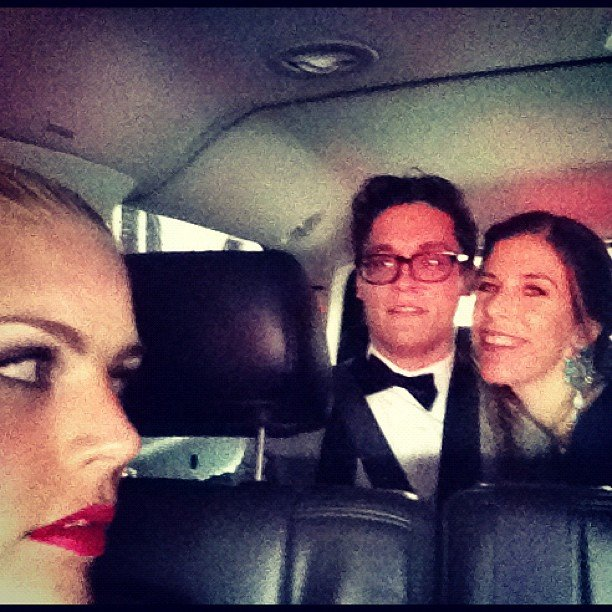 Busy Phillips snapped a shot of her en route with pals.